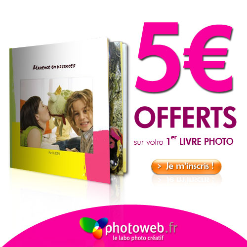 PHOTOWEB : 5 euros offerts sur votre livre photo