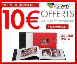 PHOTOWEB : 10 euros offerts sur votre premier livre photo !