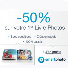 SMARTPHOTO : 50% de réduction sur votre premier livre photo