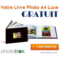 PHOTOBOX : Votre livre photo Luxe A4 GRATUIT !
