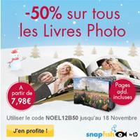 50% de remise sur les Livres Photo Snapfish