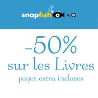 Remise immédiate de 50% sur votre livre photo par Snapfish