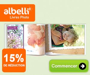 15% de réduction sur votre album photo chez Albelli