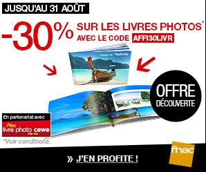Réduction de 30% sur votre livre photo