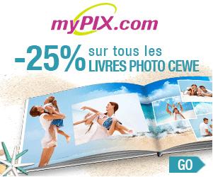 25% de réduction sur votre livre photo myPIX
