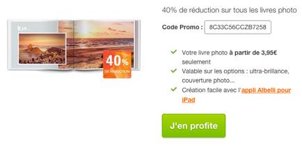 Albelli offre 40% de réduction sur tous les livres photo