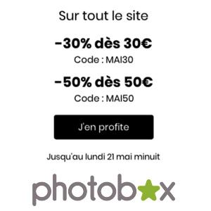 Jusqu'à 50% de réduction immédiate par Photobox jusqu'au 21 mai !